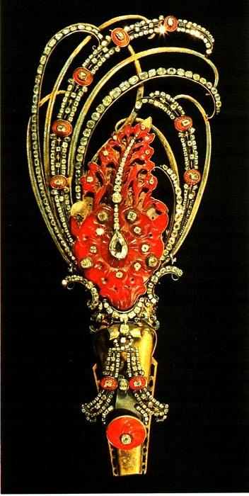 Эгрет для шляпы из карнеолового гарнитура. Около 1719 г.