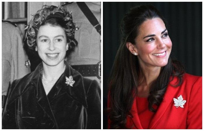 Елизавета II (1951) и Кейт Миддлтон (2011) во время визитов в Канаду
