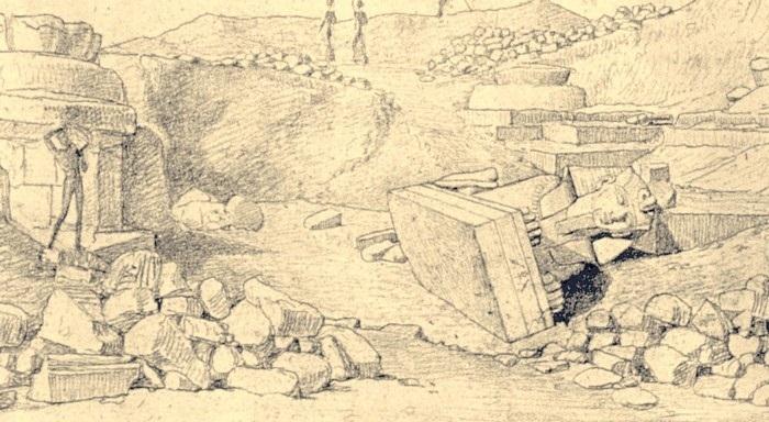 Раскопки храма Аменхотепа III. Гравюра Дж. Бономи, фрагмент.