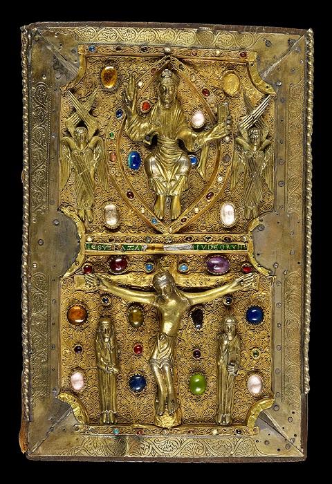 Ювелирная обложка с литой фигурой Христа на серебряном и золотом фоне с драгоценными камнями. Последняя треть одиннадцатого века. Для Джудит Фландрии