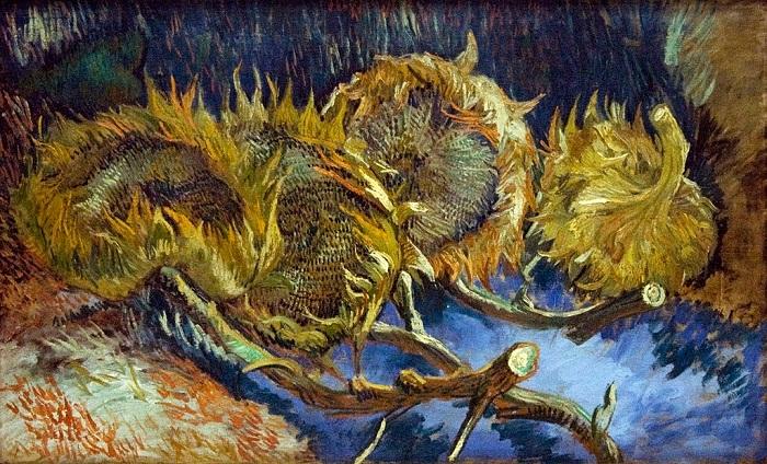 Четыре срезанных подсолнуха. Париж, сентябрь 1887. Холст, масло, 60х100. Отерло, Кроллер-Моллер Музей