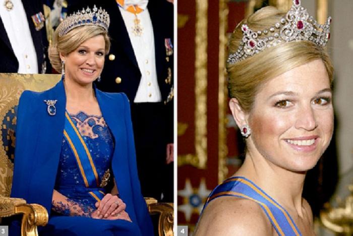 Королева Нидерландов Максима в сапфировой и рубиновой тиарах
