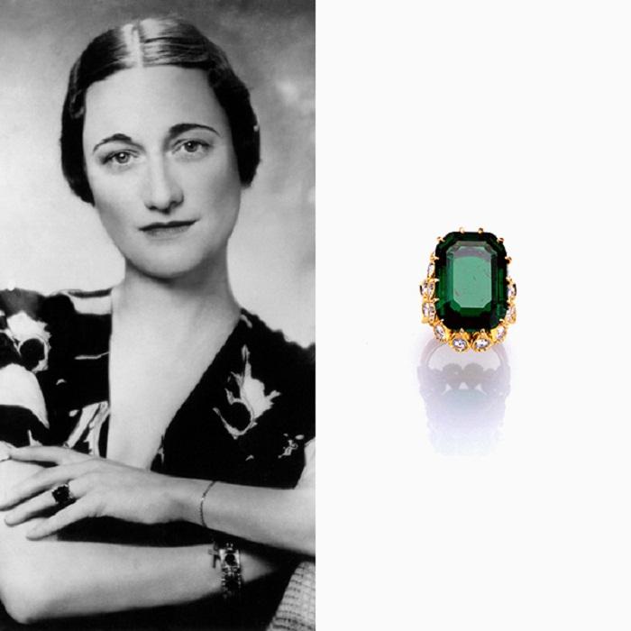 Помолвочное кольцо Уоллис Симпсон. Изумруд и бриллианты