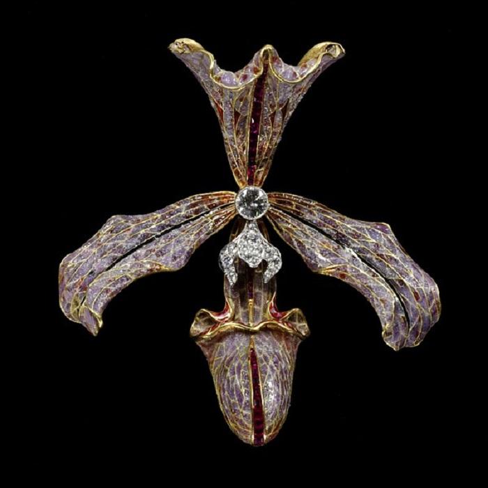 Заколка для волос «Орхидея». Золото, бриллианты, эмаль