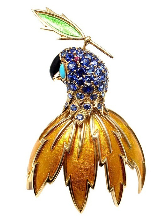 Брошь «Золотой попугай». Золото, сапфиры, бирюза, оникс, рубины, эмаль