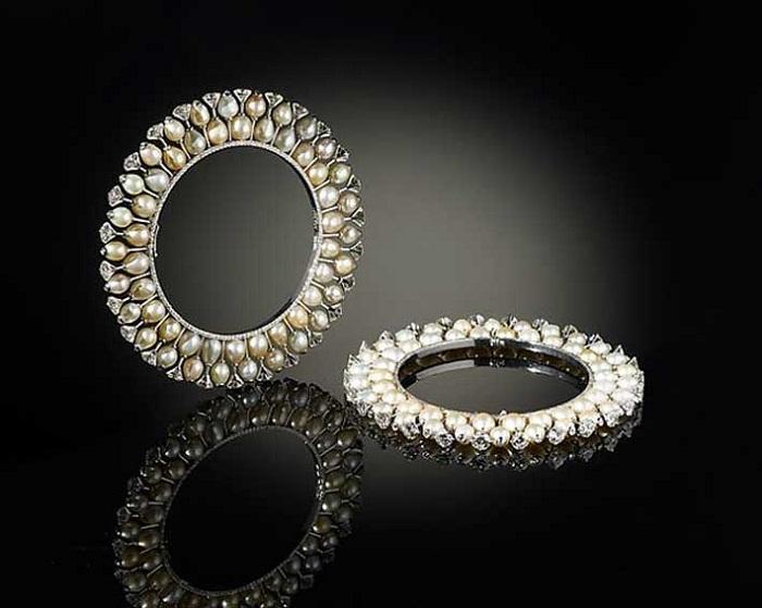 Браслеты с бриллиантами и морским жемчугом в платине. Вирен Бхагат, Мумбаи 2012