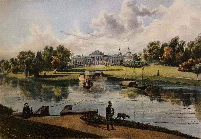 И.Н. Раух. Вид господского дома со стороны пруда