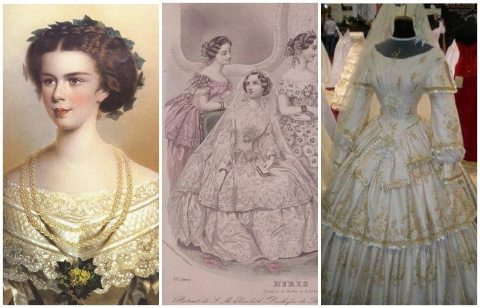 Самая красивая королева Европы Елизавета Баварская, Императрица Австрии, в браке с Францем Иосифом I. Ее свадебное платье 1854 года