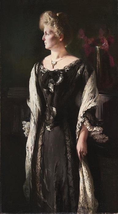 Портрет жены ювелира, Софи Уиллштедтер с подвеской, худ. Firmin Baes
