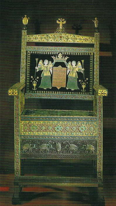Алмазный трон царя Алексея МиÑайловича. Иран, 1659 год. Золото, серебро, драгоценные камни, жемчуг, литьё, чеканка, резьба, басма, лак миниатюра