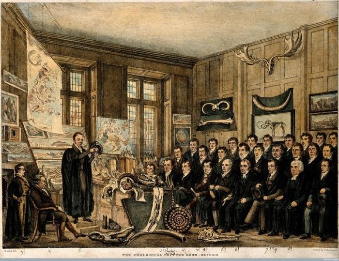 Уильям Баклэнд читает лекцию в музее Эшмола в Оксфорде