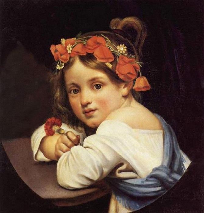 Орест Кипренский. Девочка в маковом венке с гвоздикой в руке (Мариучча). 1819 г.