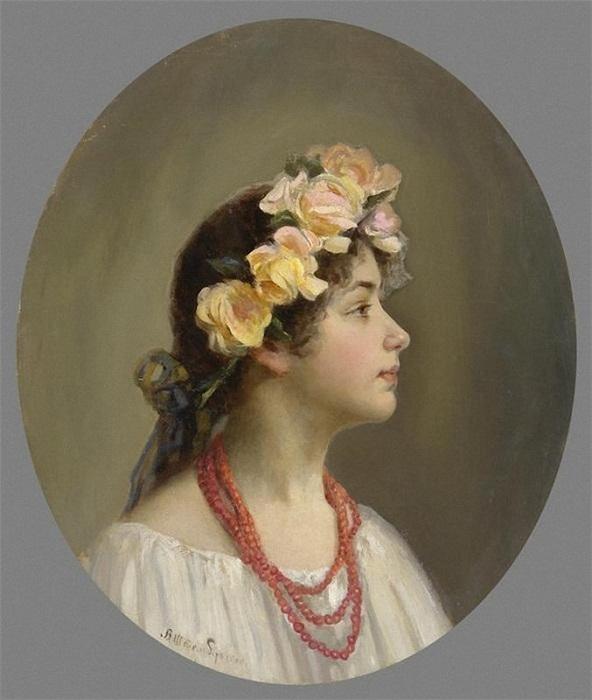 Виктор Штембер. Портрет девушки в венке. 1905 г.