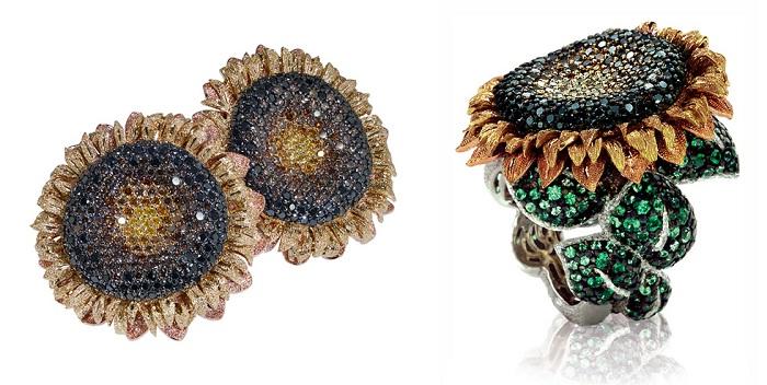 Кольцо и серьги «Подсолнух» от Alex Soldier с черными бриллиантами и цаворитами