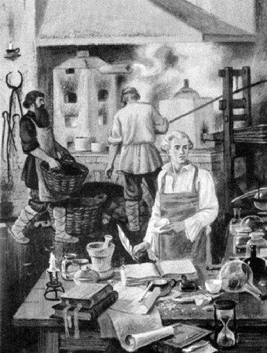 Д.И. Виноградов за работой по производству фарфора.