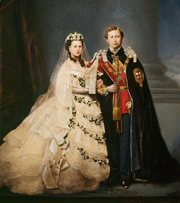 Принцесса Александра в свадебном платье и принц Эдуард, будущий король Эдуард VII