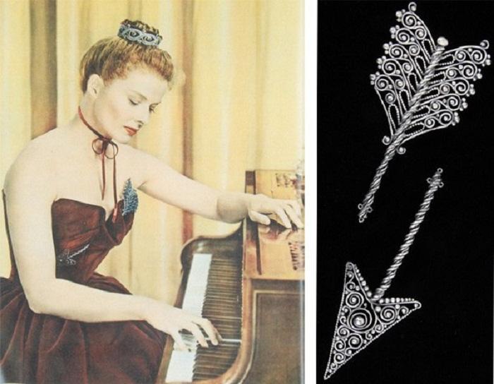 """Кэтрин Хепберн с двойной брошью от Джозефа. """"Море травы""""(1947)"""