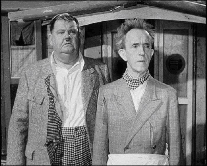 Стэн Лорел и Оливер Харди в их последнем фильме Utopia (1951).
