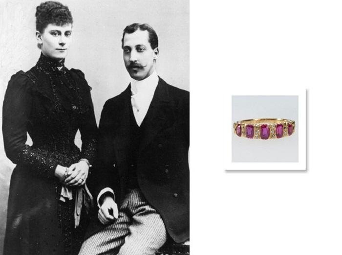 Официальное фото принцессы Виктории Марии Текской и принца Альберта Виктора в честь королевской помолвки, декабрь 1891 года
