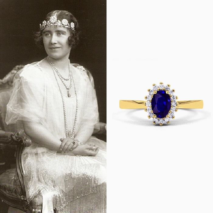 Помолвочное кольцо Елизаветы Боуз-Лайон из желтого валлийского золота с крупным синим сапфиром в обрамлении бриллиантов