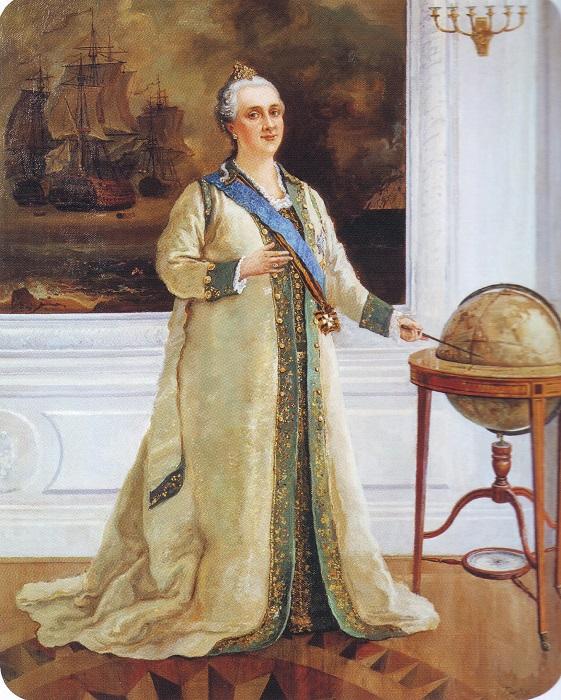 Императрица Екатерина II в морском мундирном платье. Художник С. В. Пен