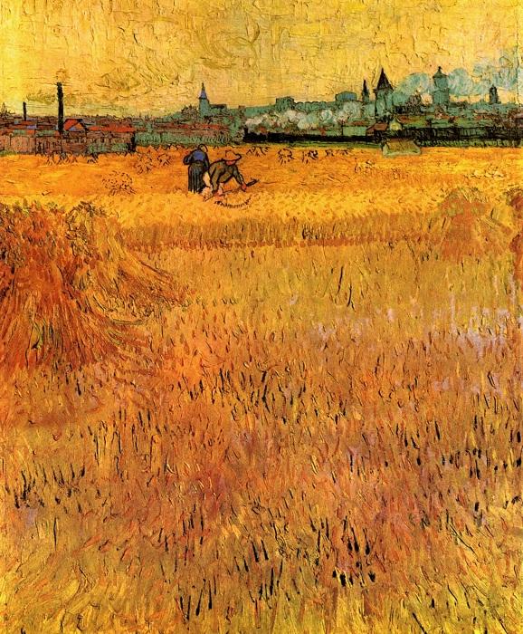 Вид на Арль с пшеничного поля  Июнь 1888 год . Холст, масло. Париж, Музей Родена