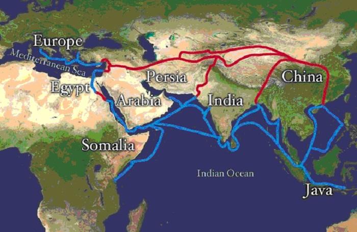 Синяя линия - канал торговли специями, который заблокировала Османская Империя
