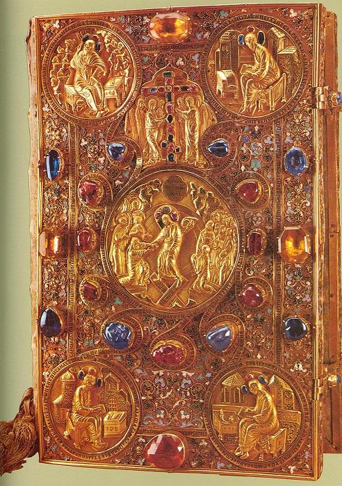 Евангелие напрестольное и детали. Рукописное на бумаге, в золотом окладе, украшенном чеканкой, эмалью по скани, чернью, драгоценными камнями и жемчугом. Мастерские Московского Кремля. 1571 год