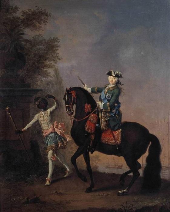 Императрица Елизавета Петровна с арапчонком. Л.К. Пфанцельфельд. 1757 г.