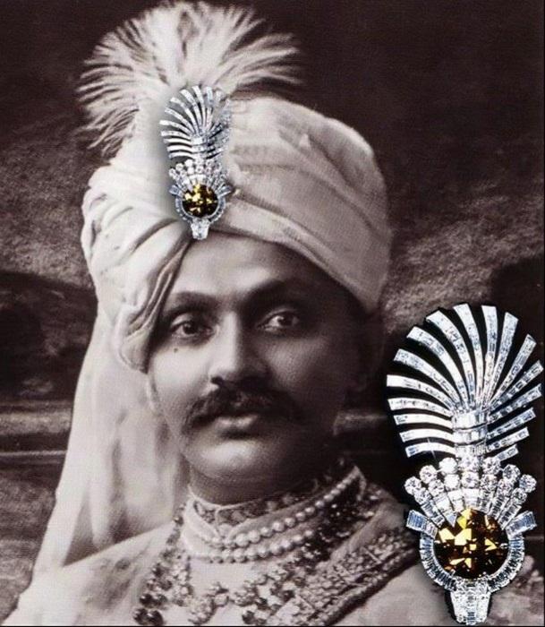Плюмаж для чалмы Махараджи Наванагара «Глаз Тигра», платина, бриллианты, Cartier, 1934
