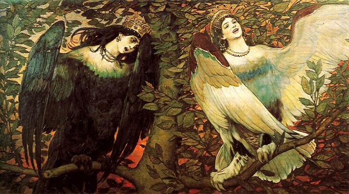 Виктор Васнецов  Сирин (слева) и Алконост.  Песнь радости и печали. 1896 год