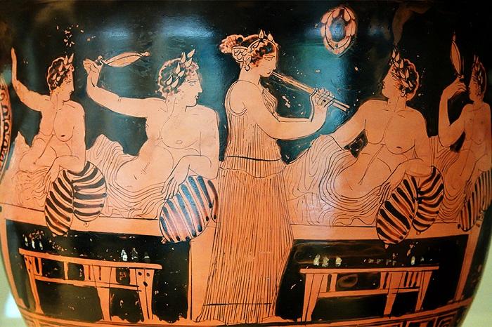Симпосий. Рисунок на древнегреческой вазе V в до н.э.