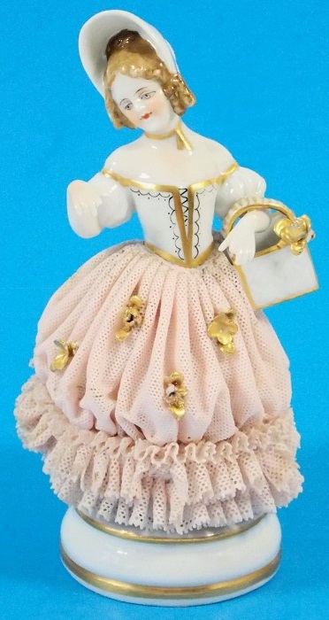 Antique Dresden Girl Porcelain Lace Muller-Volkstedt