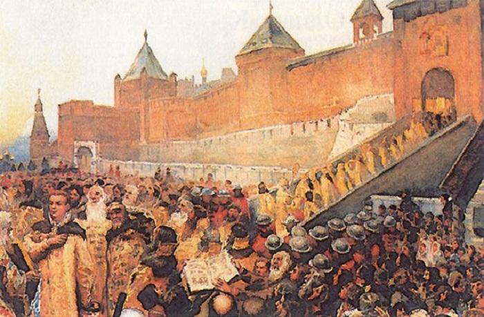 Народ встречает Лжедмитрия