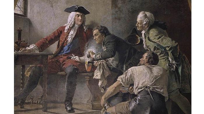 Фрагмент фрески в Альбрехтсбурге. Слева направо: король Август Сильный, Иоганн Фридрих Бёттгер, граф Эренфрид Вальтер фон Чирнгауз
