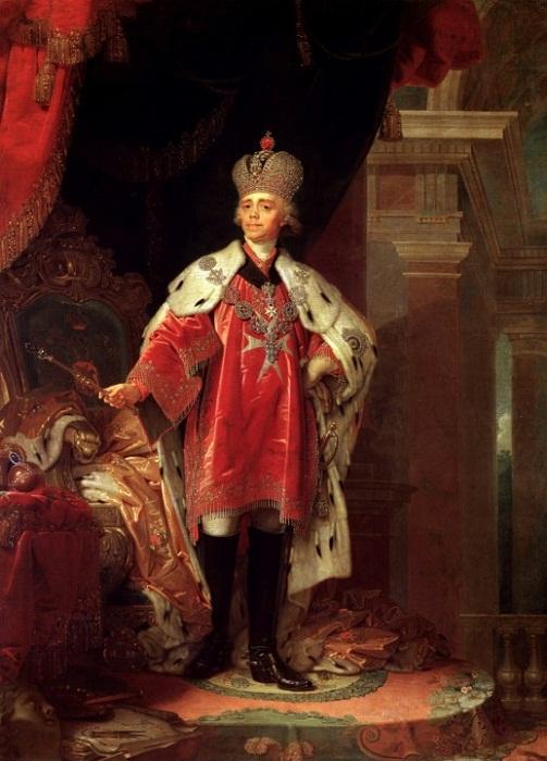 В. Боровиковский. «Павел I в короне, далматике и знаках Мальтийского ордена». 1820 г. (?)