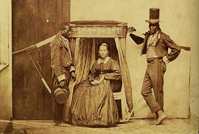 Дама в паланкине с двумя рабами, Бразилия, штат Баия, 1860 год.