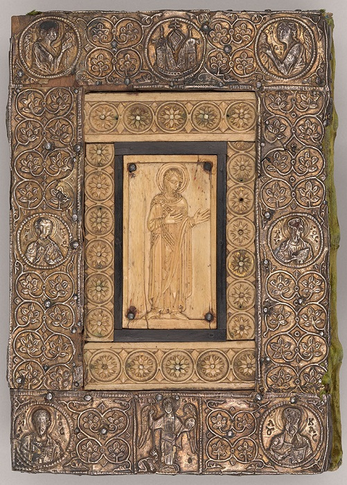 Серебряная-позолоченная обложка со слоновой костью, Сакраментарий из Фронтале, 1050