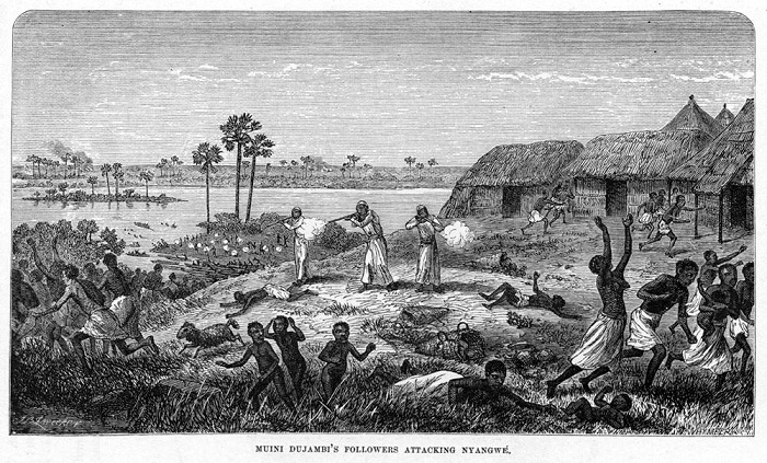Арабские работорговцы атакуют село в целях пленения большинства его жителей (Восточная Африка, 1871 год)