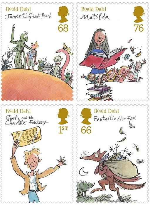 Марки с изображениями обложек книг Роальда Даля с рисунками Квентина Блейка