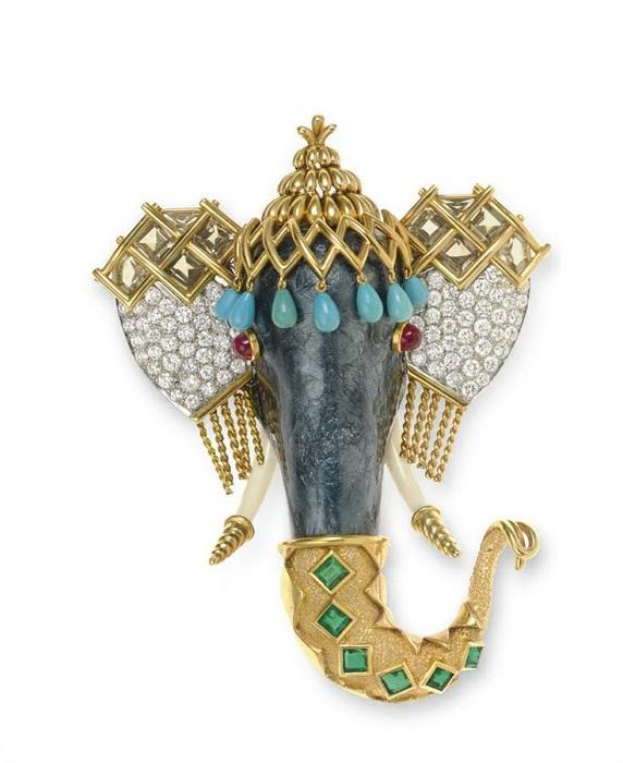 Брошь «Слон». Платина, золото, бриллианты, горный хрусталь, бирюза, изумруды