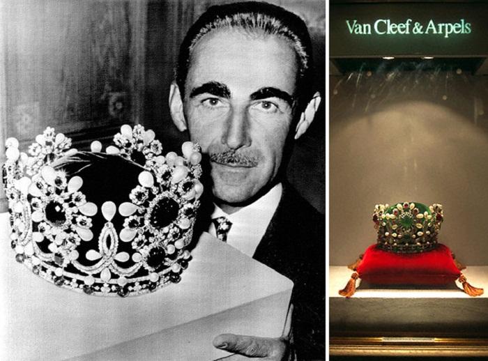 """слева: автор короны Пьер Арпельс с ее копией (фото от 10 октября 1967 года); справа - этот же объект на выставке """"Принцессы-легенды"""", проходившей в 1999 году в Париже"""
