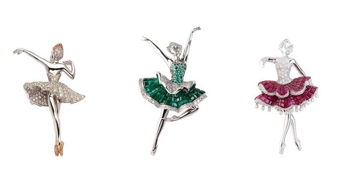 Балерины из коллекции «Ballet Precieux», выполненные из изумрудов, рубинов и бриллиантов, соответствующих трем частям знаменитого балета