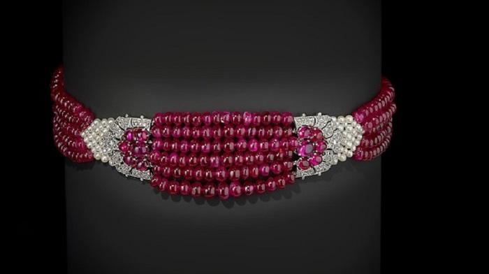 Рубиновое колье. Рубины, алмазы и жемчуг, платина
