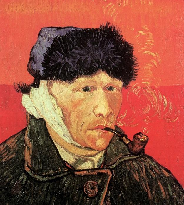 Автопортрет с перевязанным ухом и трубкой  Январь 1889г. Холст, масло. Частная коллекция