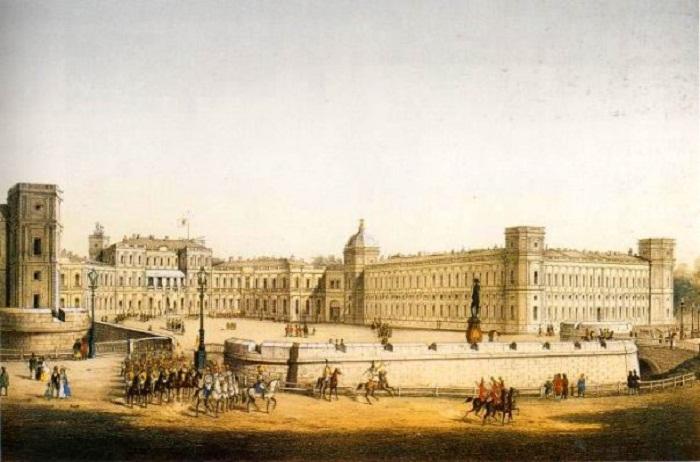 Дворец в Гатчине со стороны двора. Литография К. К. Шульца с рис. И. И. Шарлеманя. Сер. 19 в.