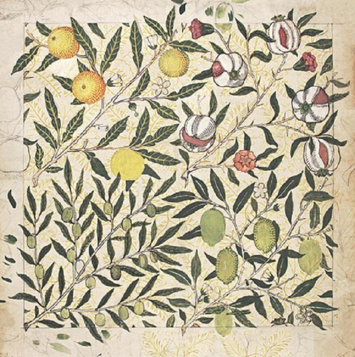 Обои Fruit с изображением гранатов, лимонов и оливок, 1862 г.