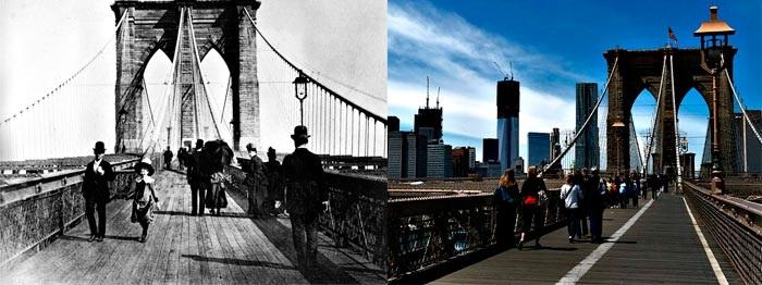 Бруклинский мост в XIX веке и в наши дни