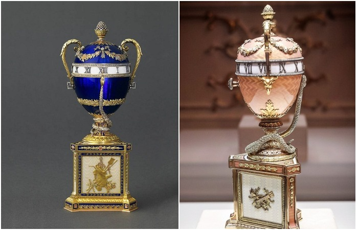 «Часы с синей змеёй», 1887 год и «Часы с розовой змеёй», 1902 год