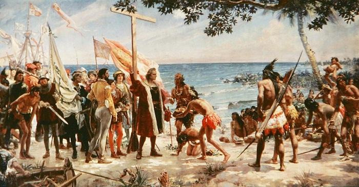 Колумб высаживается в Америке